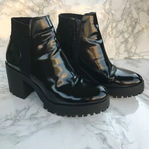 Zara Black Patent Leather Boots Lug Sole Size 39